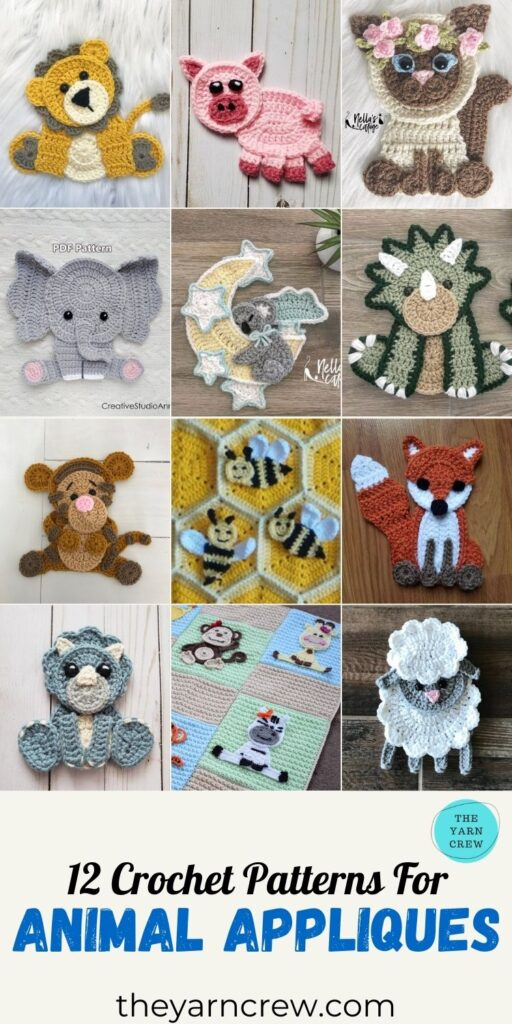 12 Crochet Patterns For Animal Appliques - PIN3