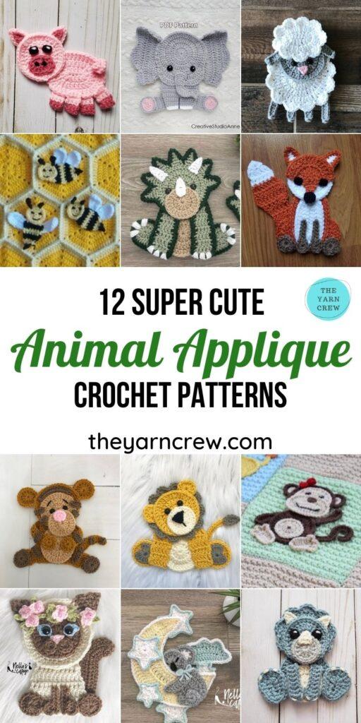 12 Super Cute Crochet Animal Applique Patterns - PIN1