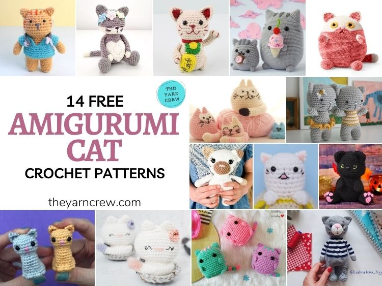 14 Free Amigurumi Cat Crochet Patterns - FACEBOOK POSTER