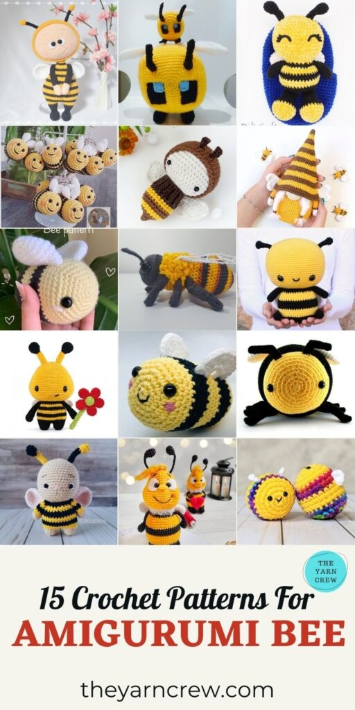 15 Crochet Patterns For Amigurumi Bee - PIN3