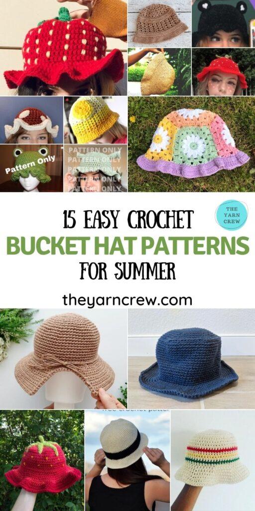 15 Easy Crochet Bucket Hat Patterns For Summer - PIN1