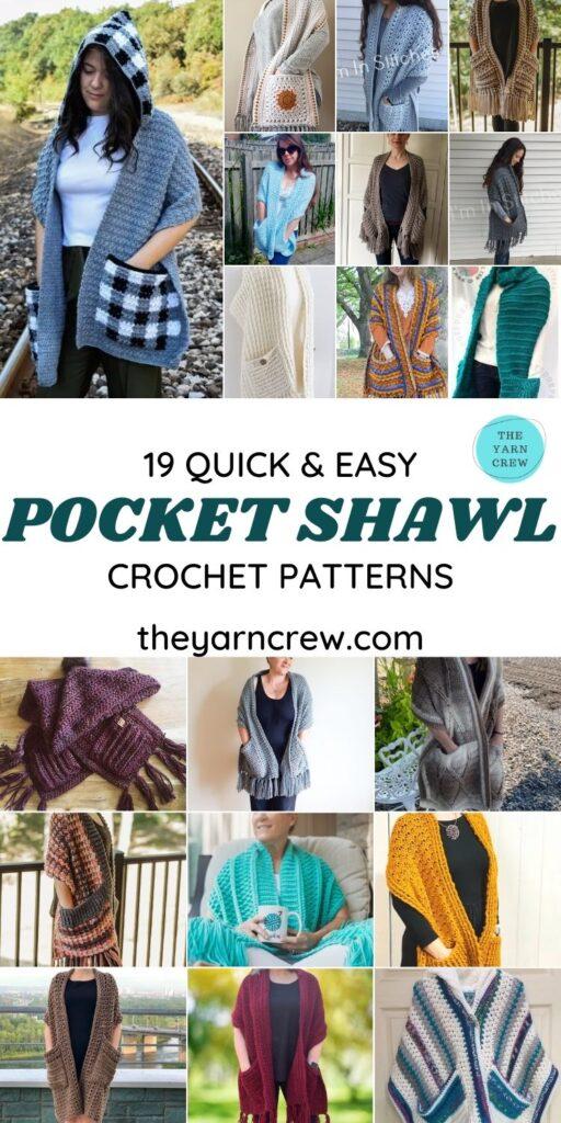 19 Quick & Easy Pocket Shawl Crochet Patterns - PIN1