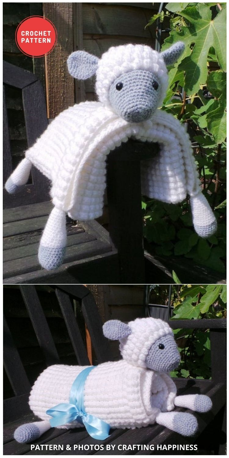 3in1 Farm Sheep Baby Blanket - 15 Adorable Animal Baby Blankets To Crochet For Your Baby