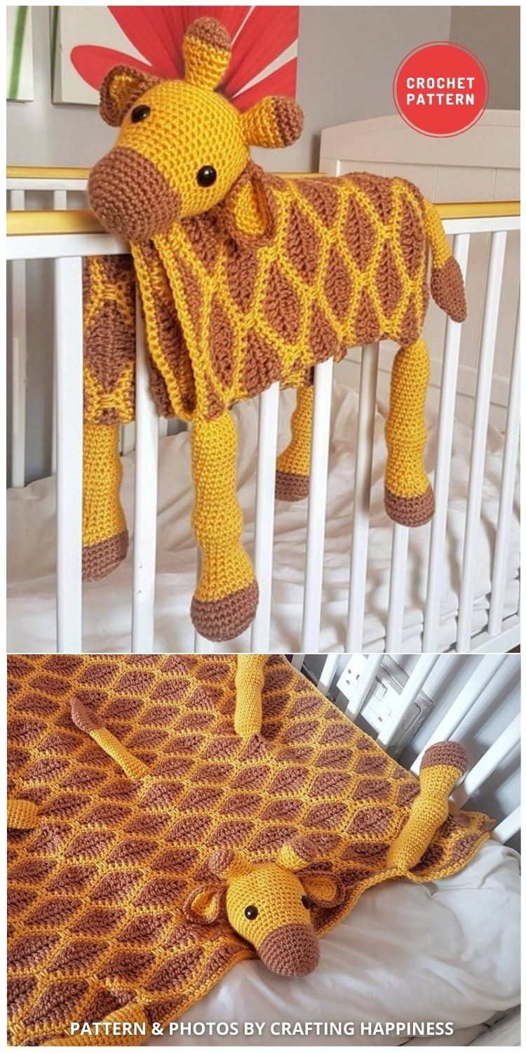 3in1 Giraffe Baby Blanket Crochet Pattern - 15 Adorable Animal Baby Blankets To Crochet For Your Baby