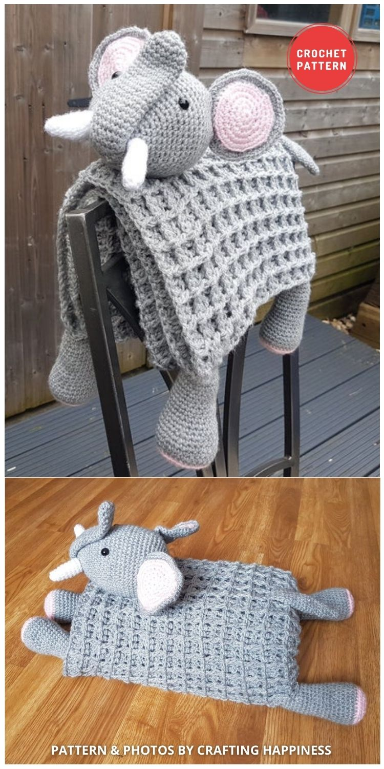 3in1 Safari Elephant Baby Blanket - 15 Adorable Animal Baby Blankets To Crochet For Your Baby