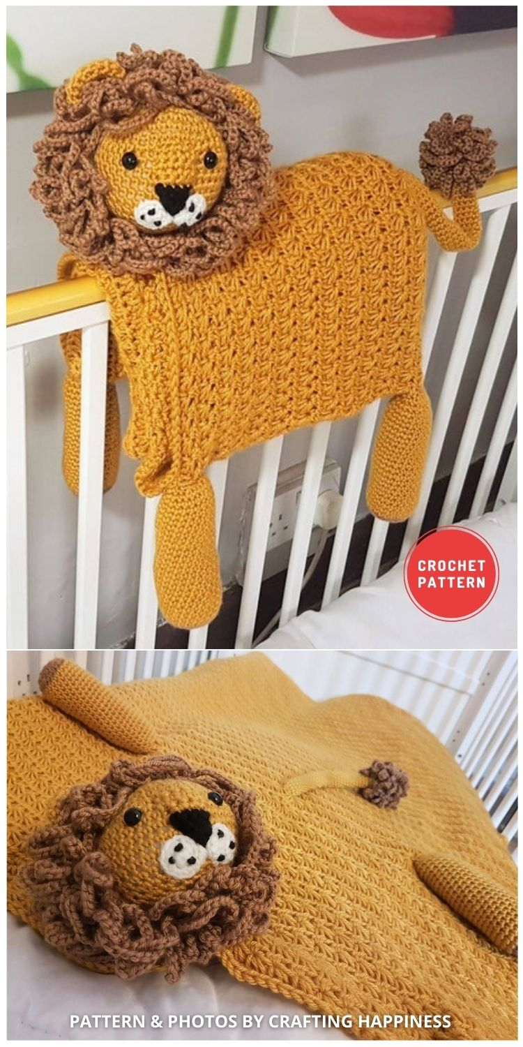 3in1 Safari Lion Baby Blanket - 15 Adorable Animal Baby Blankets To Crochet For Your Baby