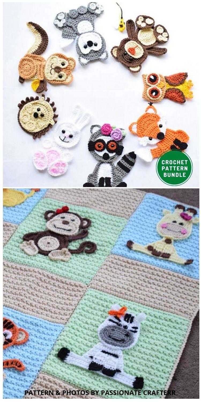 62 Appliques Set - 12 Super Cute Crochet Animal Applique Patterns