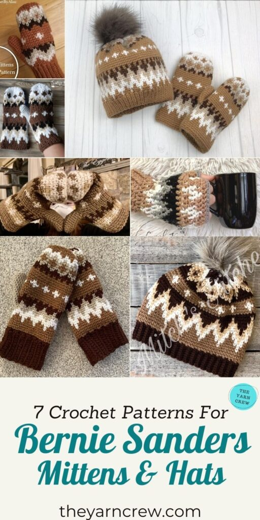 7 Crochet Patterns For Bernie Sanders Mittens & Hats - PIN3