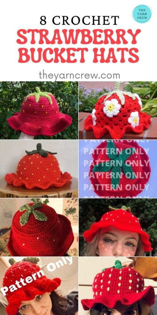 8 Crochet Strawberry Bucket Hats - PIN2