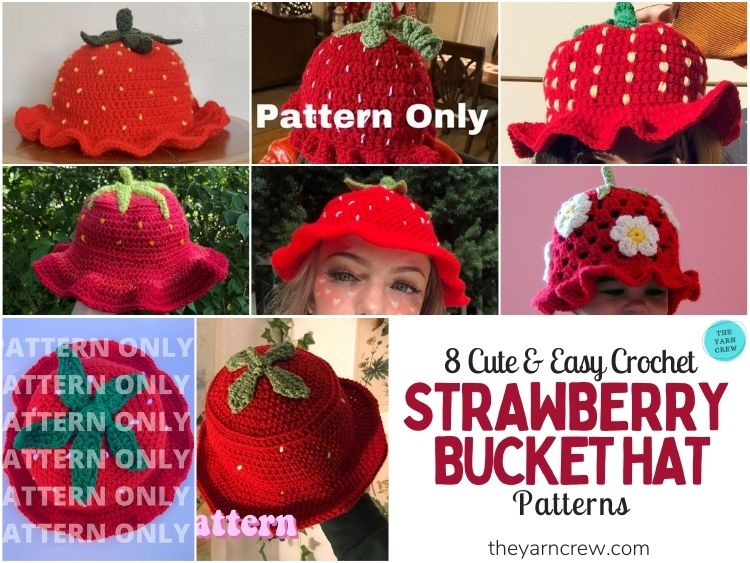 8 Cute & Easy Crochet Strawberry Bucket Hat Patterns - FB POSTER