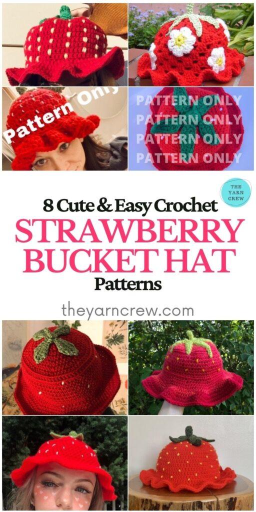 8 Cute & Easy Crochet Strawberry Bucket Hat Patterns - PIN1
