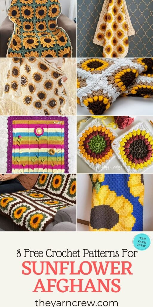 8 Free Crochet Patterns For Sunflower Afghans - PIN3