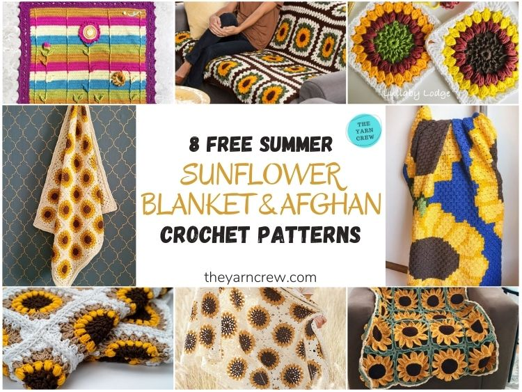8 Free Summer Sunflower Blanket & Afghan Crochet Patterns - FB POSTER