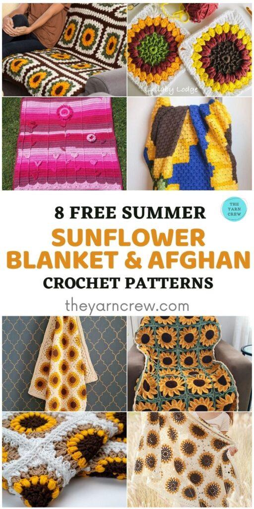 8 Free Summer Sunflower Blanket & Afghan Crochet Patterns - PIN1