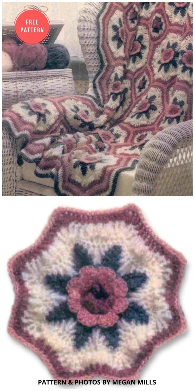 A Blanket of Roses Afghan - 10 Free Beautiful Rose Blankets & Afghans Crochet Patterns