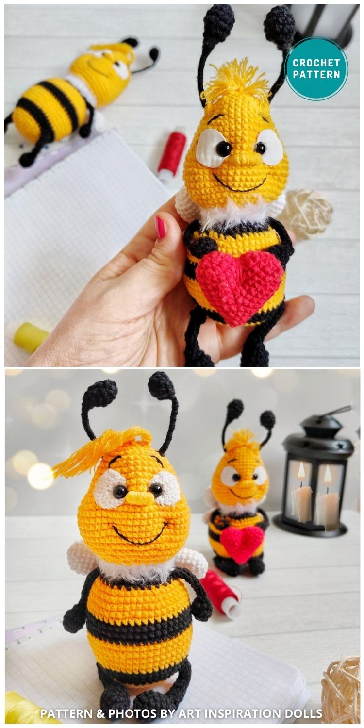 Angela and George Bee Amigurumi - 15 Cute & Easy Amigurumi Bee Crochet Patterns