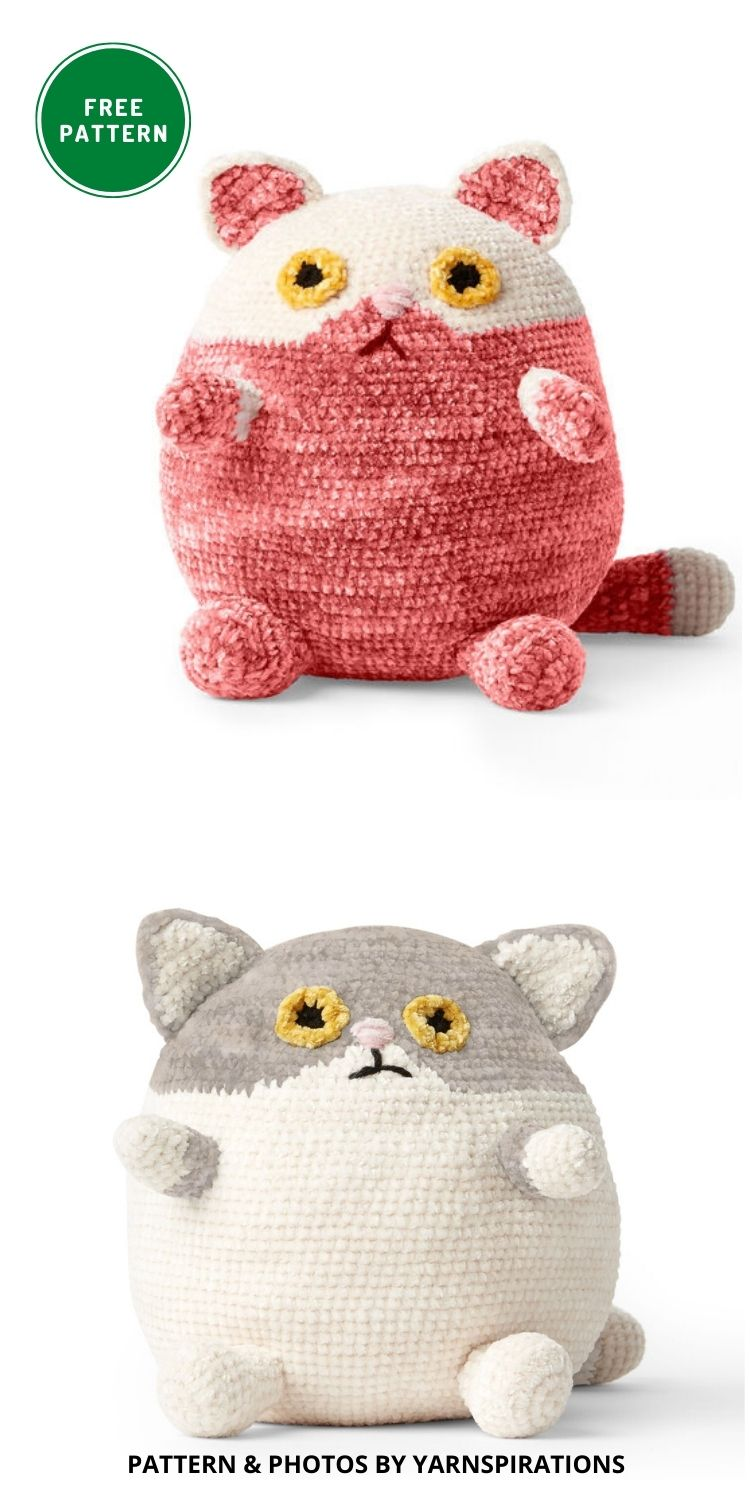 Bernat Fat Cat Crochet Stuffie, Version 2 - 14 Free Amigurumi Cat Crochet Patterns