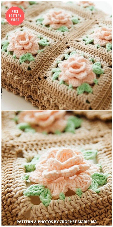 Blanket Afghan with Roses - 10 Free Beautiful Rose Blankets & Afghans Crochet Patterns