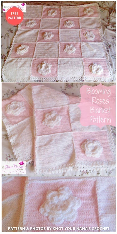 Blooming Roses Crochet Baby Blanket - 10 Free Beautiful Rose Blankets & Afghans Crochet Patterns