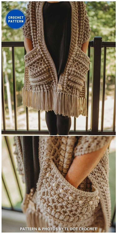 Boho Beaded Pocket Scarf - 19 Quick & Easy Pocket Shawl Crochet Patterns