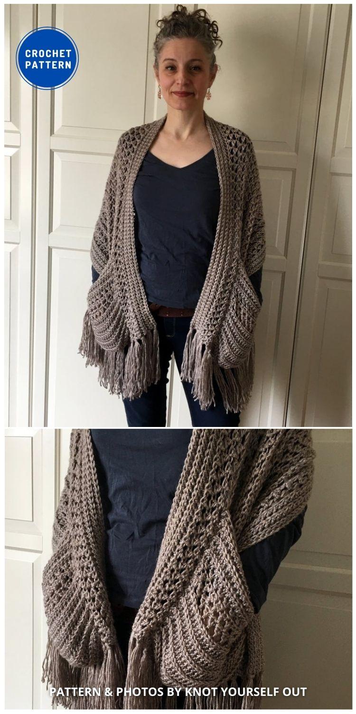 Boho Crochet Shawl with Fringe - 19 Quick & Easy Pocket Shawl Crochet Patterns