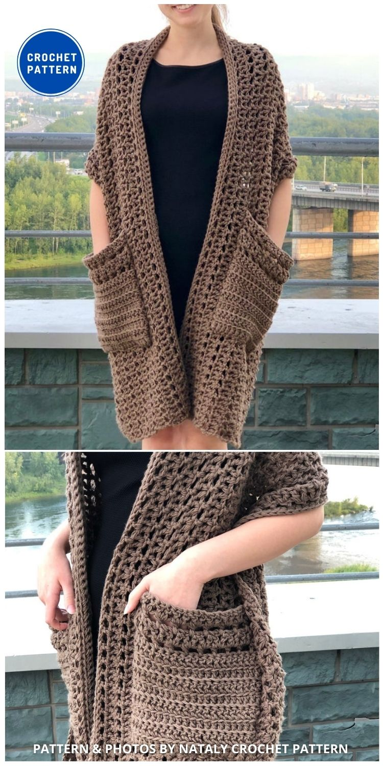 Boho wrap with pockets - 19 Quick & Easy Pocket Shawl Crochet Patterns