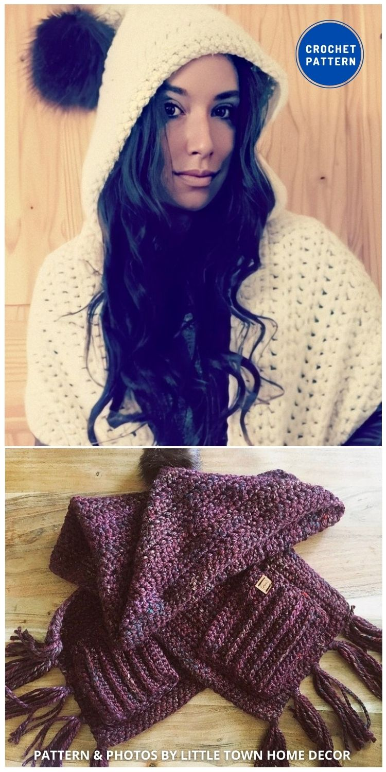Camping Scoodie Shawl With Pockets - 19 Quick & Easy Pocket Shawl Crochet Patterns