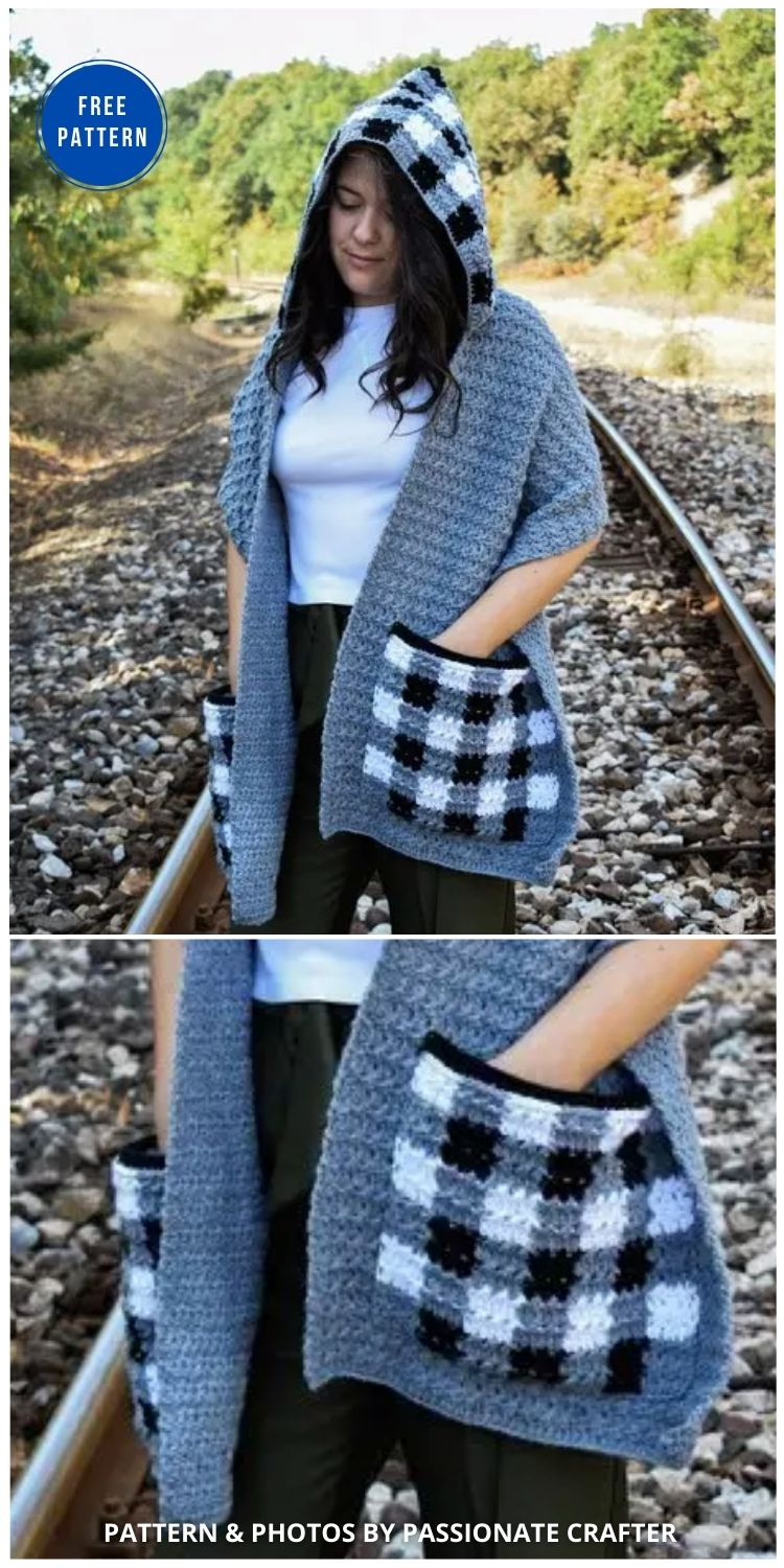 Checkmate' Pocket Scarf With Hoodie - 19 Quick & Easy Pocket Shawl Crochet Patterns