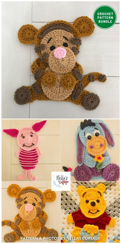 Crochet Applique Patterns - 12 Super Cute Crochet Animal Applique Patterns