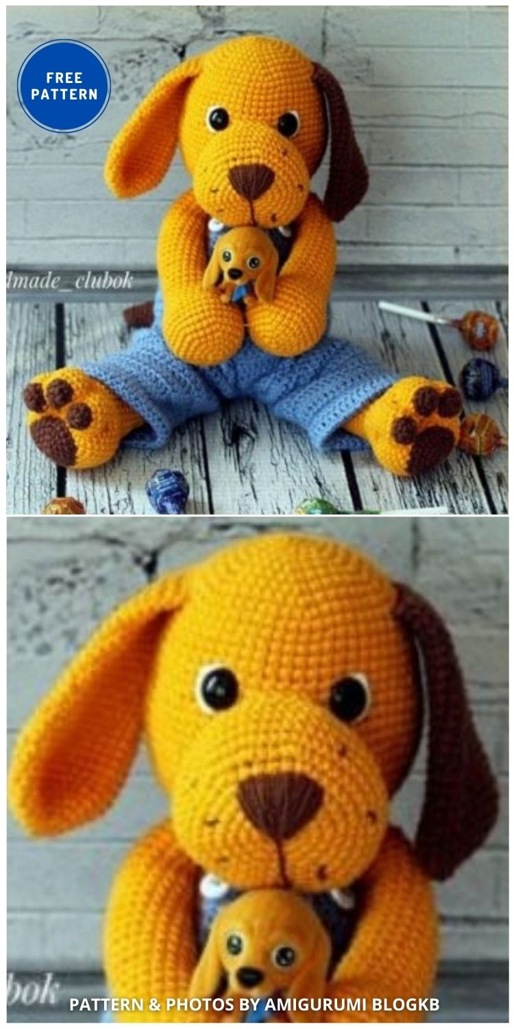 Crochet Big Cute Dog Amigurumi - 17 Free Amigurumi Dog Crochet Patterns