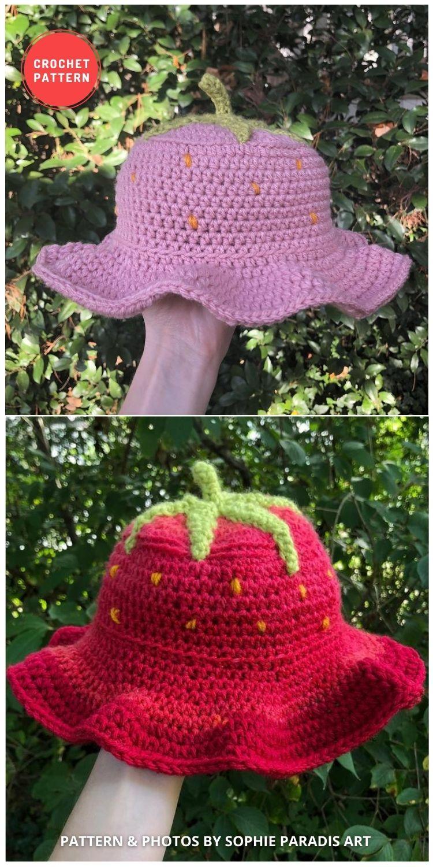 Crochet Strawberry Bucket - 15 Easy Crochet Bucket Hat Patterns For Summer