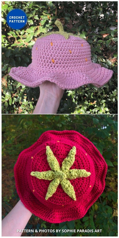 Crochet Strawberry Bucket - 8 Cute & Easy Crochet Strawberry Bucket Hat Patterns