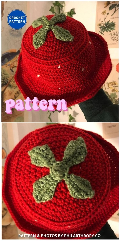 Crochet Strawberry Hat - 8 Cute & Easy Crochet Strawberry Bucket Hat Patterns