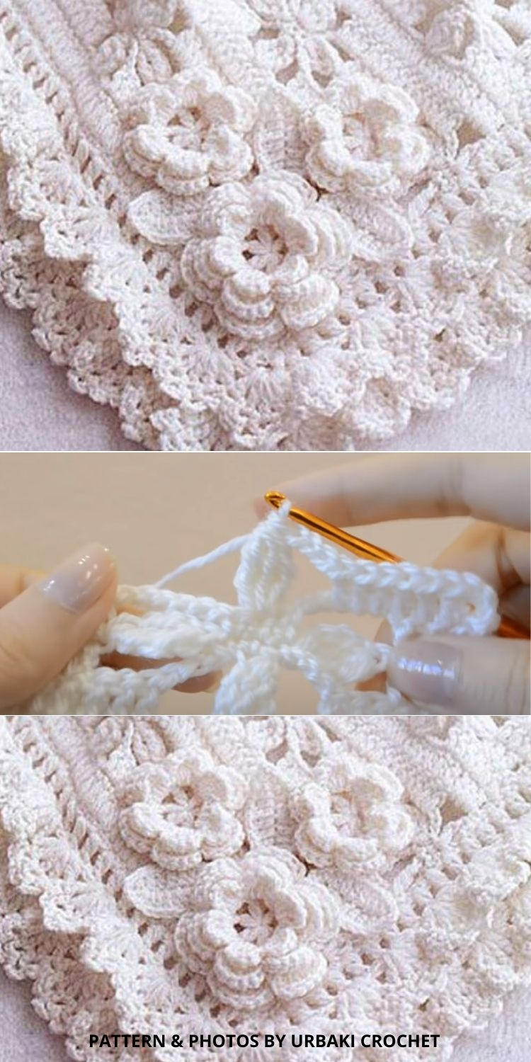 Darling Baby Blanket With Roses - 10 Free Beautiful Rose Blankets & Afghans Crochet Patterns