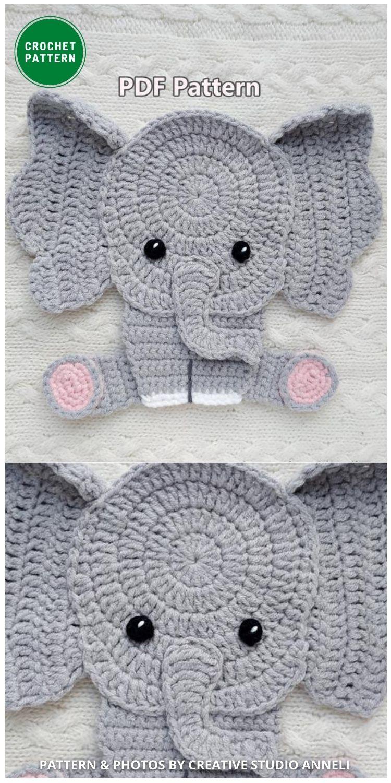 Elephant Applique - 12 Super Cute Crochet Animal Applique Patterns