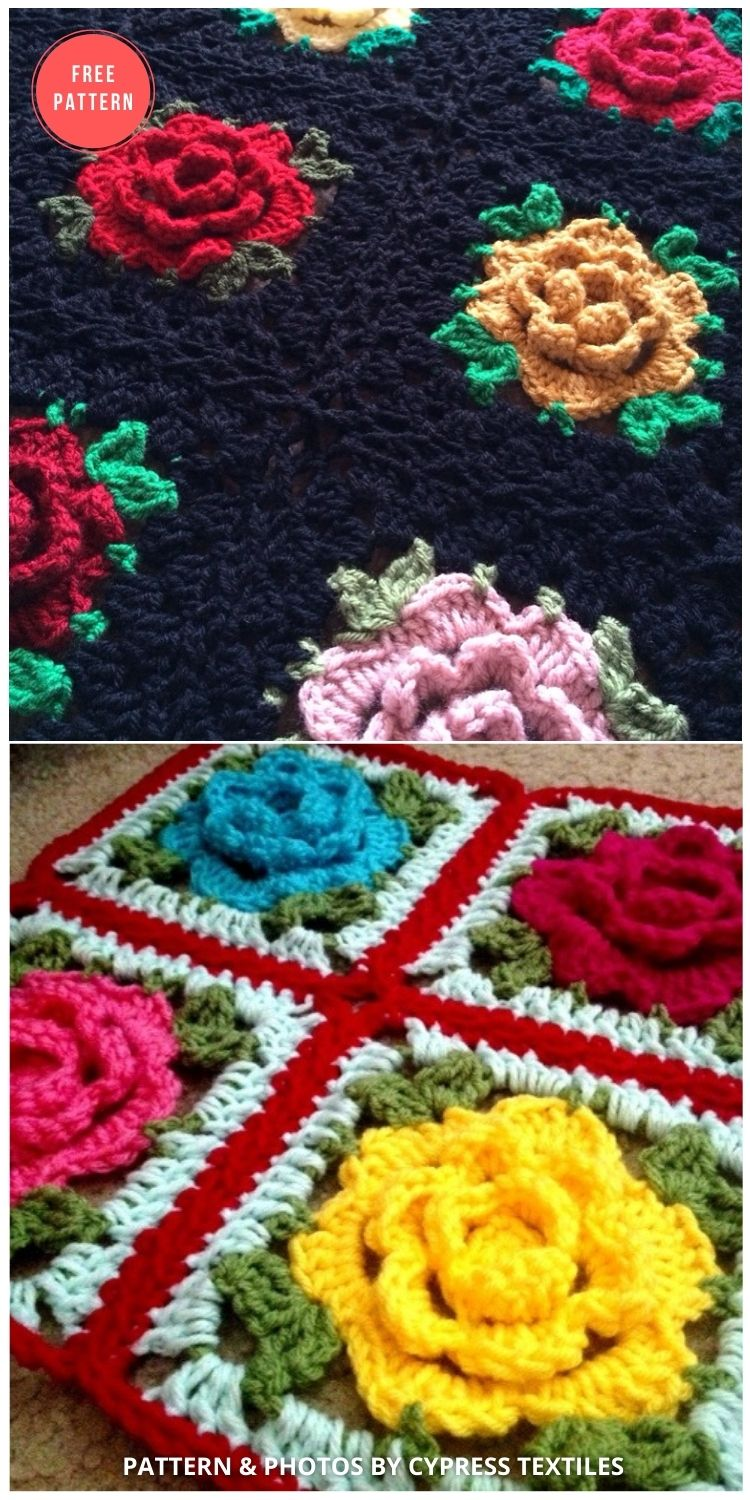 English Rose Granny Square - 10 Free Beautiful Rose Blankets & Afghans Crochet Patterns