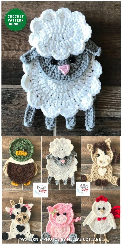 _Farm Animal Applique Patterns - 12 Super Cute Crochet Animal Applique Patterns