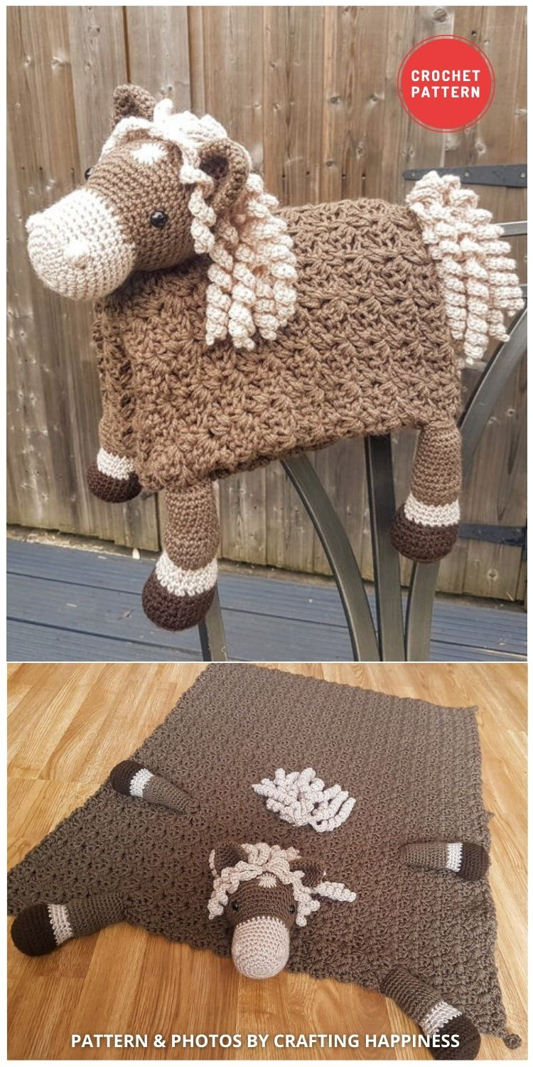 Farm Horse Baby Blanket - 15 Adorable Animal Baby Blankets To Crochet For Your Baby