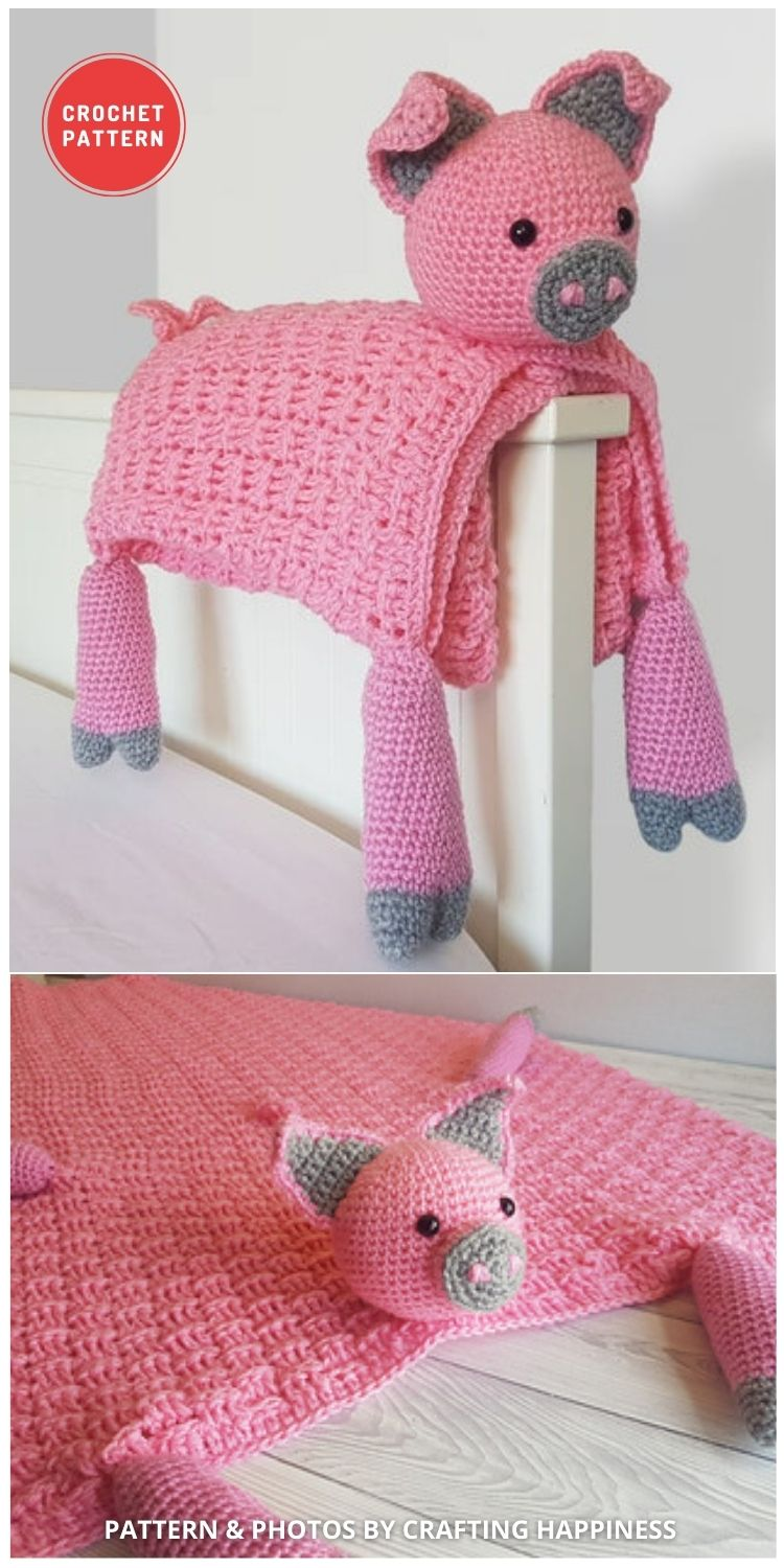 Farm Pig Baby Blanket Crochet Pattern - 15 Adorable Animal Baby Blankets To Crochet For Your Baby