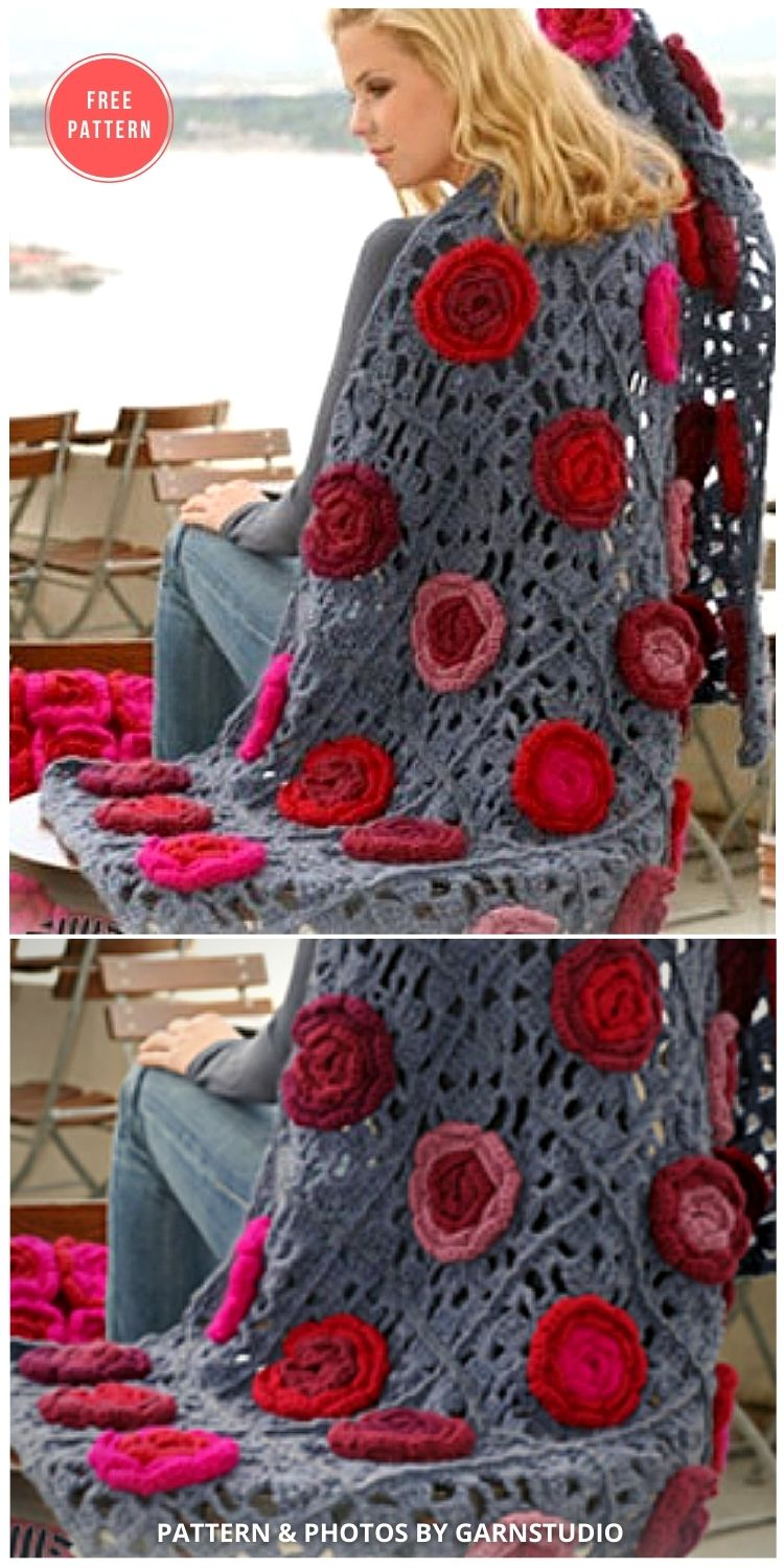Field of Roses - 10 Free Beautiful Rose Blankets & Afghans Crochet Patterns