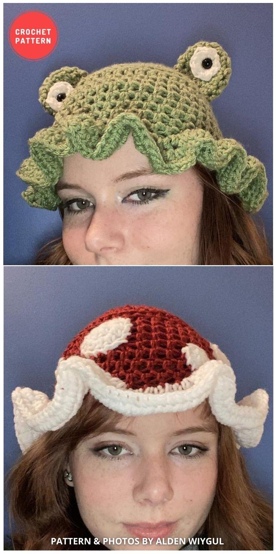 Frog and Mushroom Bucket Hat - 15 Easy Crochet Bucket Hat Patterns For Summer