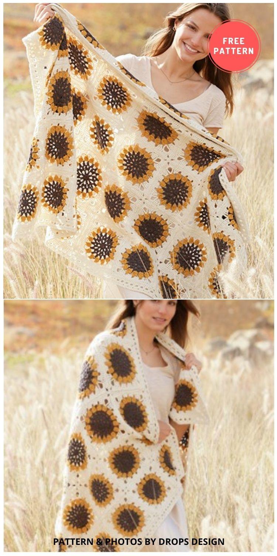 Golden Garden - 8 Free Summer Sunflower Blanket & Afghan Crochet Patterns