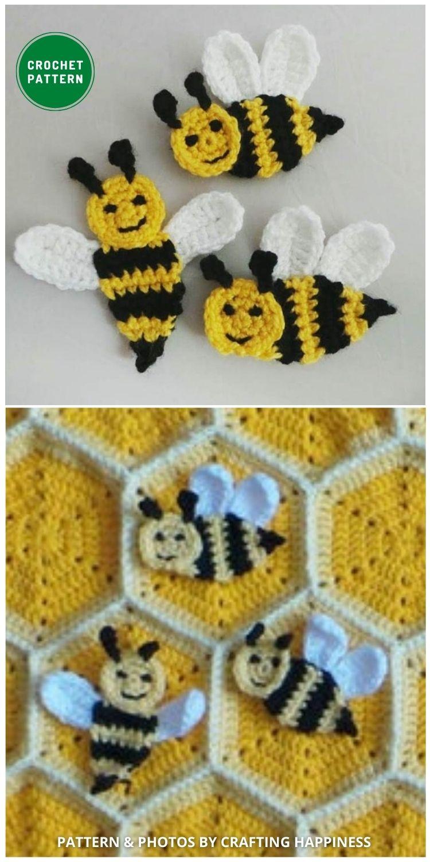 Happy Bee Applique - 12 Super Cute Crochet Animal Applique Patterns