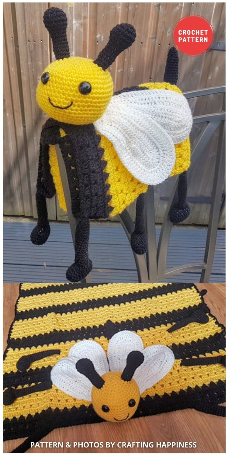 Happy Bee Baby Blanket - 15 Adorable Animal Baby Blankets To Crochet For Your Baby
