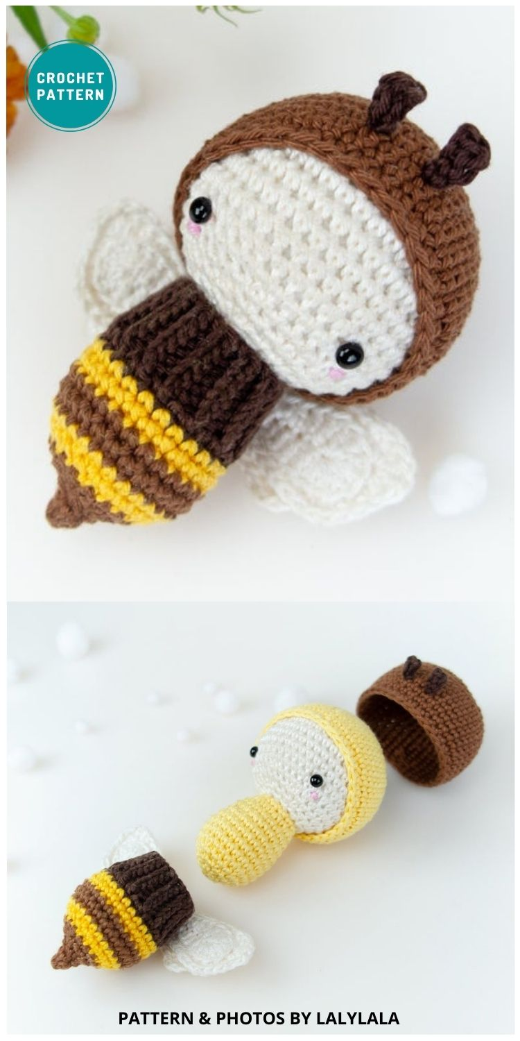 Honey Bumble Bee Poppy Hive Honeycomb - 15 Cute & Easy Amigurumi Bee Crochet Patterns