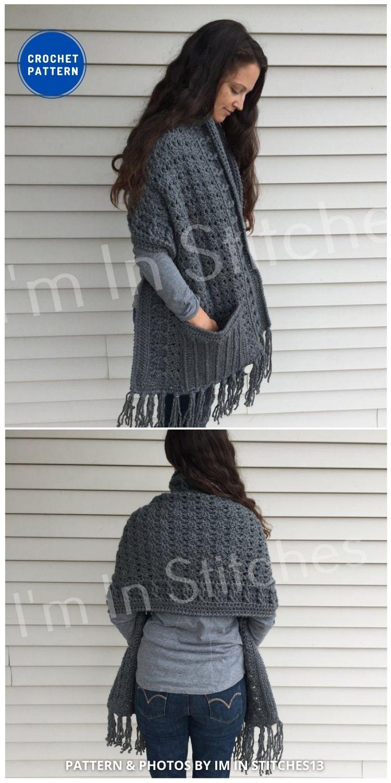 Jane's Pocket Shawl - 19 Quick & Easy Pocket Shawl Crochet Patterns