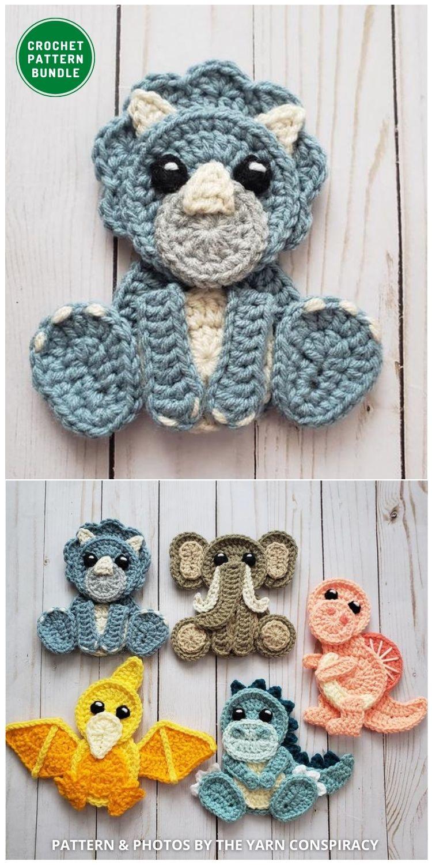 Jurassic Classic Applique Pack - 12 Super Cute Crochet Animal Applique Patterns