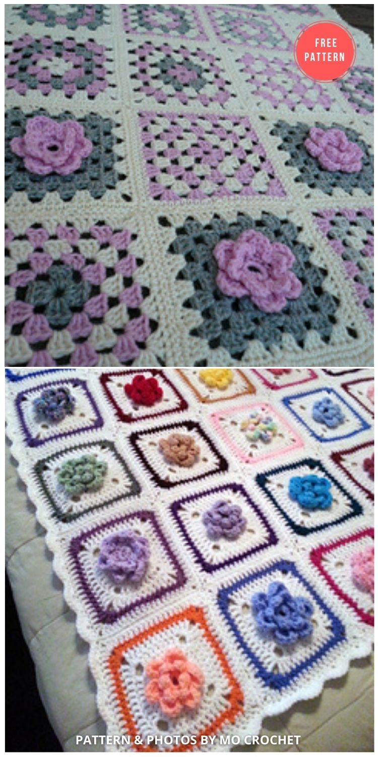 Lady's Rose Afghan Square - 10 Free Beautiful Rose Blankets & Afghans Crochet Patterns