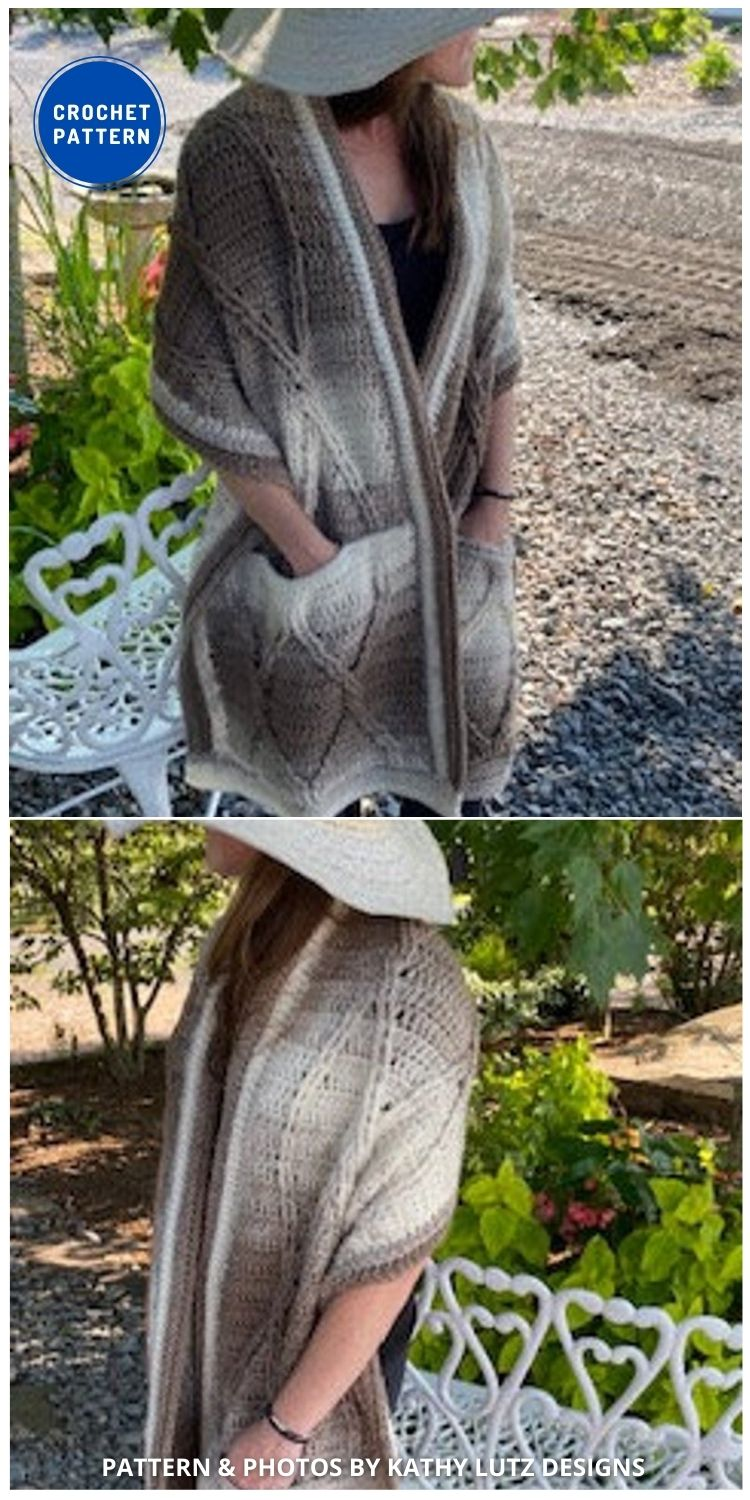 Lazy Cables Pocket Shawl - 19 Quick & Easy Pocket Shawl Crochet Patterns