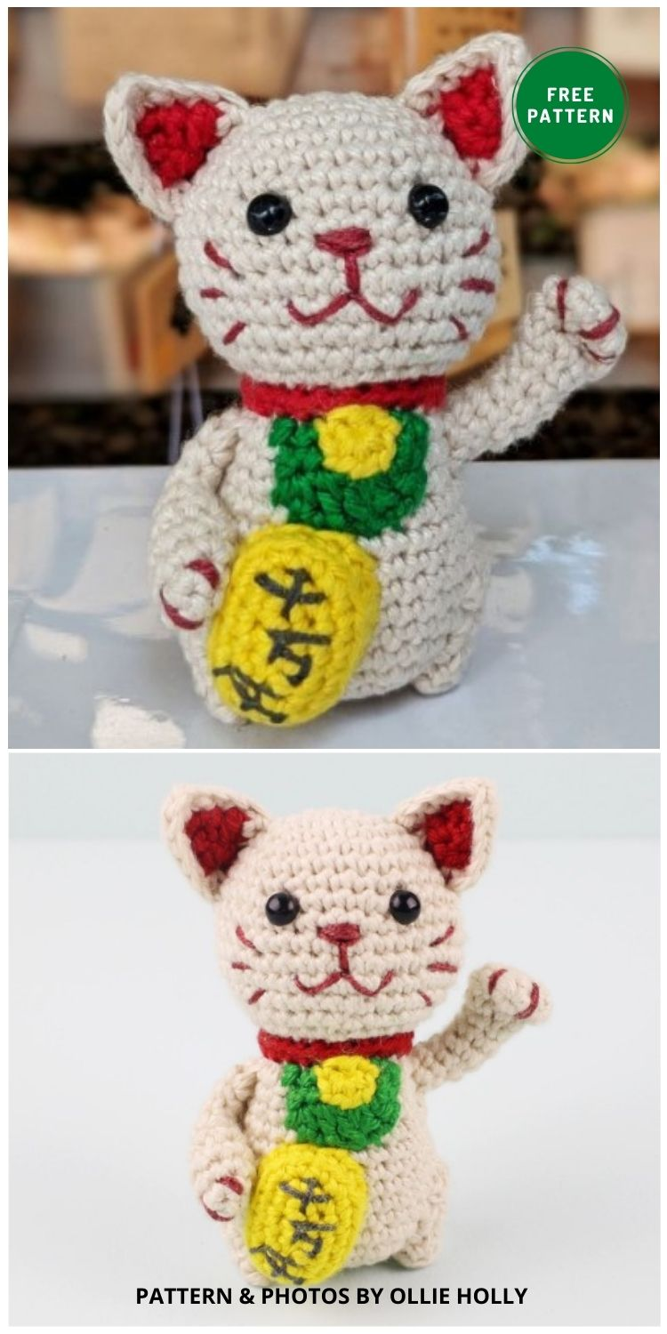 Maneki Neko Lucky Cat Amigurumi - 14 Free Amigurumi Cat Crochet Patterns